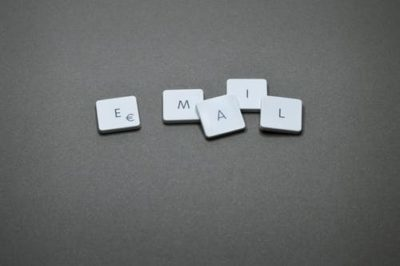 Email written with scrabble blocks